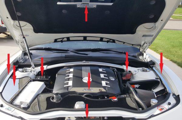 2010 – 2015 5th Gen Camaro V6 & V8 Engine Bay 7-Piece Kit
